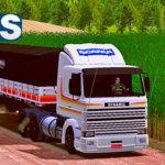 Conjunto de Skins Scania 113 Frontal Faixas Laranja + Carreta Bitrem 9 Eixos