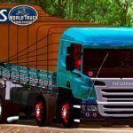 Skin Scania P310 Verde com Vidro Vermelho Espelhado (EXCLUSIVO)