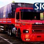 Skin Scania 113H Vermelha com Bitrem Qualificado + Lameiro