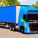 Skin Volvo FH Azul com Faixa Qualificado
