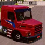 Skin Scania 113h Vermelha com Grafite Azul  – Exclusivo e QUALIFICADO