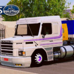 Skin Scania 113h Branca com Faixa Roxa  – Exclusivo e Qualificado
