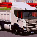 Skin Scania P320 CAÇAMBA - Branca com Insufilm Vermelho